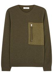 Valentino Green Wool And Cashmere Blend Jumper
