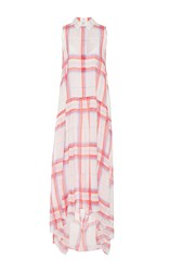 Msgm Silk Plaid Collared Dress Pink