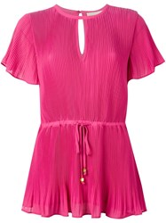 Michael Michael Kors Pleated Drawstring Blouse Pink And Purple