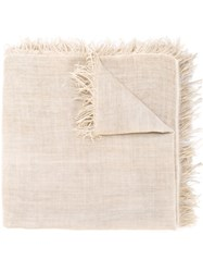Eleventy Raw Edge Scarf Nude And Neutrals