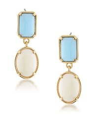 1St And Gorgeous Light Blue White Cabochon Double Drop Earrings Gold