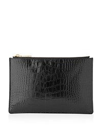 Whistles Small Shiny Croc Embossed Clutch Black