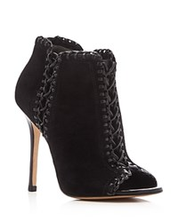 Michael Kors Henley Whipstitched Peep Toe Booties Black