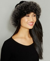 The Fur Vault Fox Trim Wool Alpaca Blend Hat Black Snowtop