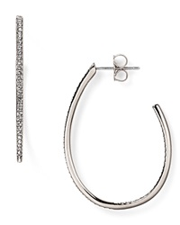 Nadri Pave Teardrop Hoop Earrings Silver