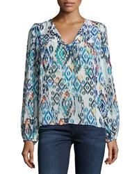 T Bags Tribal Print Long Sleeve Peasant Blouse Multi Colors