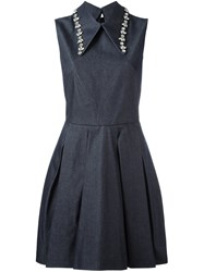 Mcq By Alexander Mcqueen Crystal Embellished Pointed Collar Dress Blue
