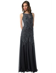 Basix Ii Illusion Tulle And Sequin Mermaid Gown Charcoal