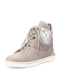 Stuart Weitzman Chairman Vecchio Nappa Leather High Top Sneaker Stone