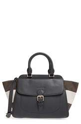 Burberry 'Medium Harcourt' Check And Pebbled Leather Satchel