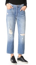 J Brand Ivy High Rise Crop Straight Jeans Bleach Wrecked