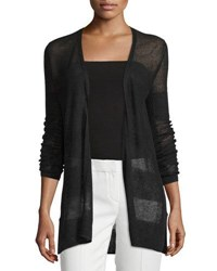 Republic Clothing Group Striped Linen Blend Open Front Cardigan Black