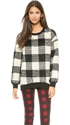 J.O.A. Plaid Voluminous Sweatshirt Black White