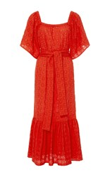 Rhode Resort Jay Belted Open Shoulder Dress Red