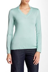 Lafayette 148 New York Framed V Neck Cashmere And Silk Blend Sweater Blue