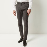 River Island Mens Dark Grey Textured Trousers