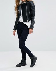 Noisy May Lucy Mid Waist Biker Skinny Jeans Black Blue