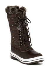 Refresh Wind Tall Faux Leather Snow Boot Brown