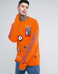 Granted Super Long Sleeve Tee With Badge Prints Orange