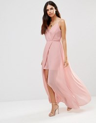 Adelyn Rae Gathered V Neck Maxi Dress Light Pink