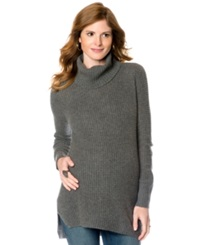 A Pea In The Pod Maternity Sweater Long Sleeve Cable Knit Dark Heather Grey