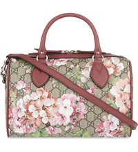 Gucci Floral Print Canvas Bowling Bag Pink Multi