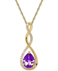 Macy's Birthstone And Diamond 1 10 Ct. T.W. Pendant Necklace In 14K White Or Yellow Gold Purple