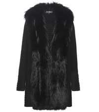 Salvatore Ferragamo Knitted Wool Coat With Fur Trim Black