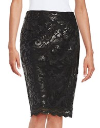 Marina Sequined Pencil Skirt Black