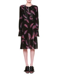 Emilio Pucci Long Sleeve Feather Print Dress Black Red Women's