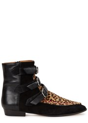 Isabel Marant Rowi Leopard Print Calf Hair Ankle Boots