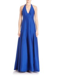 Halston Cotton And Silk Halter Gown Royal Blue
