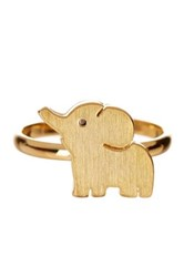 Rebecca Accessories 14K Yellow Gold Filled Sterling Silver Elephant Ring Metallic