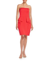 Aidan Mattox Strapless Ruffled Sheath Dress Red