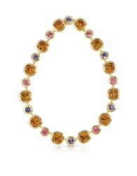 Forzieri Purple Pink And Orcher Crystals Necklace