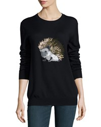 Markus Lupfer Hedgehog Beaded Merino Crewneck Sweater Black Size Medium