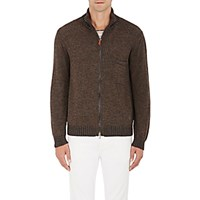 Inis Meain Men's Baby Alpaca Silk Zip Front Sweater Brown