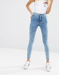 Asos Rivington Denim High Waist Jeggings In Marbled Mid Wash Blue
