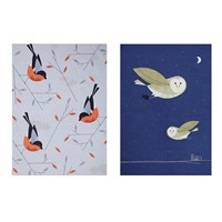 Magpie Birdy Ii Tea Towel Set Of 2 Bullfinch And Barn Owl