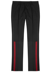 Lanvin Black Grosgrain Trimmed Wool Blend Trousers Black And Red