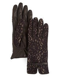 Buscarlet Lace Over Leather Gloves Black