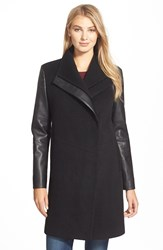 Vera Wang 'Taylor' Faux Leather Sleeve Wool Blend Coat Black