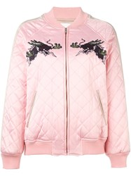 Steve J And Yoni P Embroidered Quilted Bomber Jacket Pink And Purple