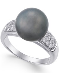Macy's Cultured Tahitian Pearl 11Mm And Diamond Ring 1 4 Ct. T.W. In 14K White Gold Gray