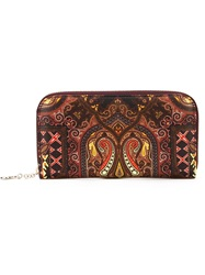 Etro Pattern Print Continental Wallet Pink And Purple