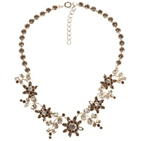 Alice Joseph Vintage 1950S Silver Plated Diamante Floral Necklace Grey
