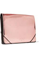 Maison Martin Margiela Mm6 Metallic Glossed Leather Clutch Rose Gold