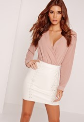Missguided Whipstitch Front Faux Leather Mini Skirt White White