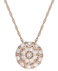 Wrapped In Love Diamond Disc Pendant Necklace In 14K Rose Gold 1 2 Ct. T.W.