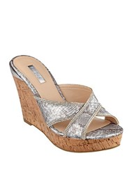 Guess Eleonora Platform Wedge Sandals Silver